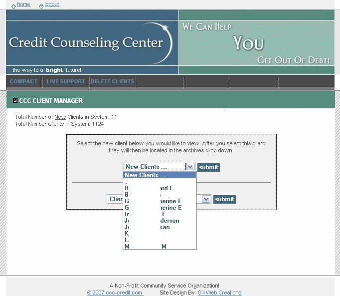 Credit Counseling Center Administration Page