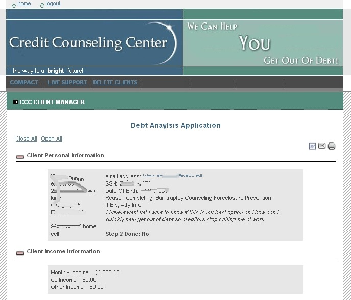 Credit Counseling Center Administration View Client