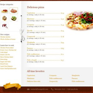 Restaurant and menu website